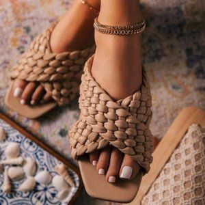 Criss Cross Braided Slide Sandals in Nude